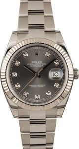 Pre-Owned Rolex Datejust 41 Ref 126334 Dark Rhodium Diamond Dial