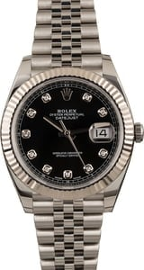 Pre Owned Rolex Datejust 41 Ref 126334 Black Diamond Dial