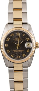 PreOwned Rolex Two Tone Datejust 68273 Black Jubilee Dial