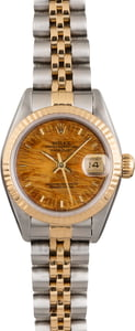 Used Rolex Datejust 69173 Two Tone Exotic Wood Dial
