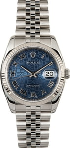 Used Rolex Datejust 116234 Blue Jubilee Dial