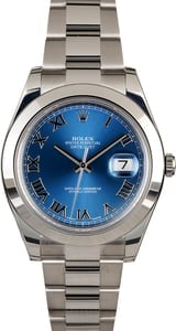Rolex Datejust II Ref 116300 Blue Dial with Steel Oyster