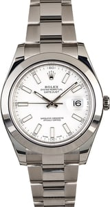 PreOwned Rolex Datejust II Ref 116300 White Index Dial