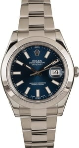 Pre Owned Rolex Datejust 116300 Blue Luminous Index Dial