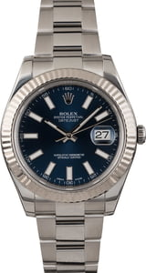 PreOwned Rolex Datejust 116334 Blue Luminous Dial 41MM