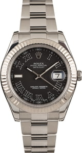 Pre-Owned Rolex Datejust II Ref 116334 Black Roman Dial