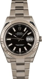 Pre-Owned Rolex Datejust II Black Dial 116334