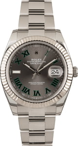 Pre Owned Rolex Datejust II Ref 126334 Green Roman Markers
