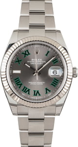 Pre-Owned Rolex Datejust 126334 Green Roman Markers Watch