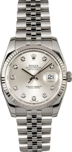 Rolex Datejust Silver Diamond Dial 116234
