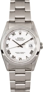 Rolex Datejust Stainless Steel Watch 16200 Roman