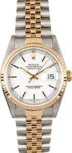 Rolex Datejust White 16233 Certified Pre-Owned