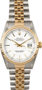 Rolex Datejust 16233 White Index Dial