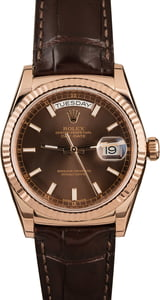 Rolex Day-Date 118135 Everose Gold w/ Leather Strap