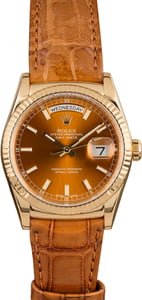 Rolex Day Date 118138 Cognac Dial Leather Strap