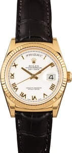 Pre-Owned Rolex Day-Date 118138 White Roman Dial