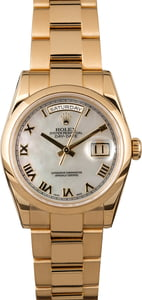 Rolex Day-Date 118208 Yellow Gold Oyster MOP Dial