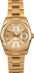Pre-Owned Rolex Day-Date 118208 Champagne Index Dial T