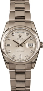 Pre-Owned Rolex 118209 White Gold Day Date Diamond Dial