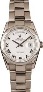 Used Rolex Day-Date 118209 White Dial 18k White Gold