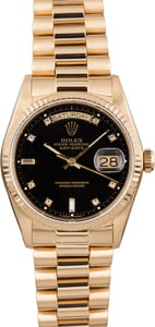 Pre-Owned Rolex President 18038 Black Diamond Dial