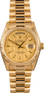 Pre-Owned Rolex President 18038 Champagne Linen Dial