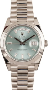 Rolex Platinum President 228206 Ice Blue Diamond Dial