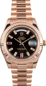 Rolex Day-Date II 218235 Diamond & Ruby Dial