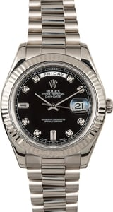 Rolex Day-Date II 218239 Black Diamond Dial