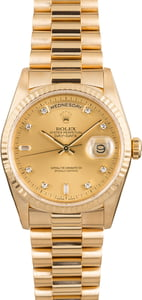 Rolex President 18238 Diamond Champagne Dial