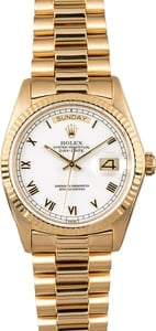 Rolex Day-Date Presidential 18038 White Roman Dial