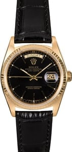 Certified Rolex Day-Date 18038 Black Index Dial