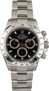 Used Rolex Daytona 116520 Stainless Steel Black Dial