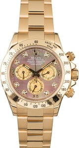 Rolex Daytona 116528 Black Mother of Pearl Dial with Diamonds
