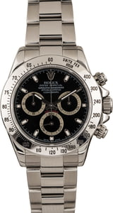 Pre Owned Rolex Stainless Steel Daytona Black Dial