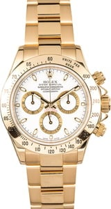 Rolex Daytona 116528 White Dial 18K Yellow Gold