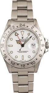 Men's Certified PreOwned Rolex Explorer II Ref 16570 White Dial
