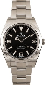 Pre-Owned Rolex Explorer 214270 Luminous Black Dial Stainless Steel T