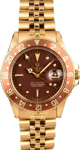 Vintage 1968 Rolex GMT-Master Root Beer 1675 Yellow Gold Jubilee