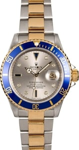 Men's Rolex Submariner 16613 Slate Serti