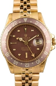 Vintage 1972 Rolex GMT-Master 1675 Yellow Gold 'Root Beer'