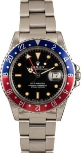 Vintage Men's Rolex GMT-Master II Pepsi Bezel Model 16750
