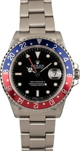Pre Owned Rolex 'Pepsi' GMT Master II Ref 16710 Steel Watch