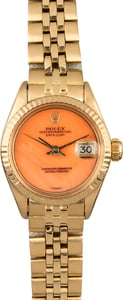 Vintage Ladies Rolex Datejust 6917 Coral Dial