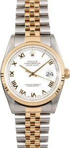 Rolex Men's Datejust 16233 White Roman Dial