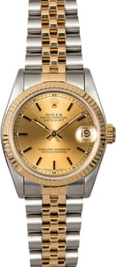 Mid-Size Rolex Datejust 68273 Champagne Index Dial