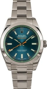 Pre-Owned Rolex Milgauss 116400GV Blue Dial Green Crystal