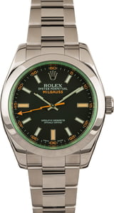 Used Mens Rolex Milgauss 116400V Green Crystal with Black Dial
