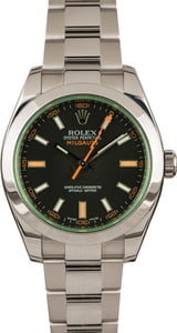 Used Rolex Steel Milgauss 116400V Green Crystal Black Dial