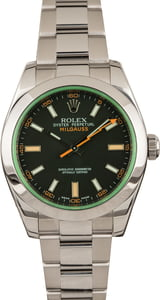 Mens Rolex Milgauss 116400V Green Crystal with Black Dial